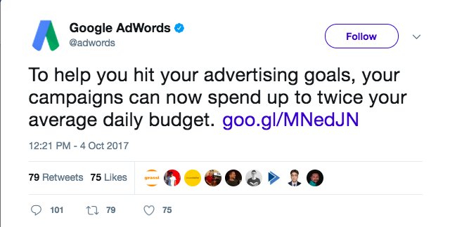 google adwords tweet